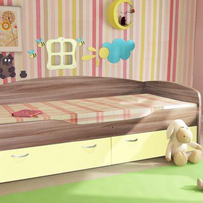 """Детская кровать 2 """"Бриз"""" ваниль (дл)"""
