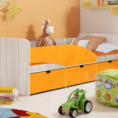 Детская кровать 3 «Бриз» Квадрат оранж (дл)