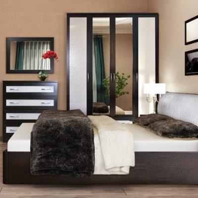 Спальня «Кэт-1» Кайман белый композиция 3 (дл)