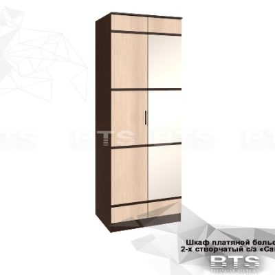 «Сакура» Шкаф пл. бельевой 2-х створчатый с зеркалом (б)
