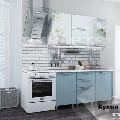 Кухня «Бьянка» 1,5 м. голубые блестки/фотопечать (б)
