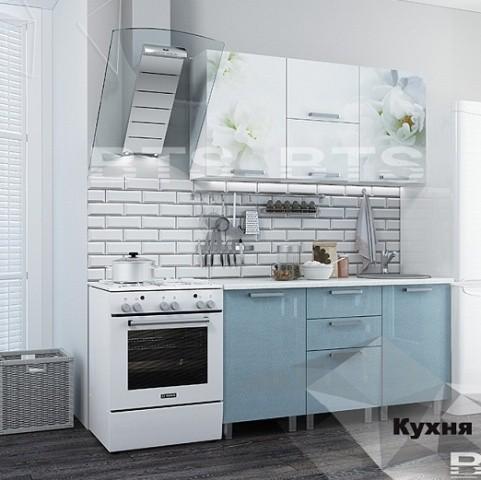 """Кухня """"Бьянка"""" 1,5 м. голубые блестки/фотопечать (б)"""
