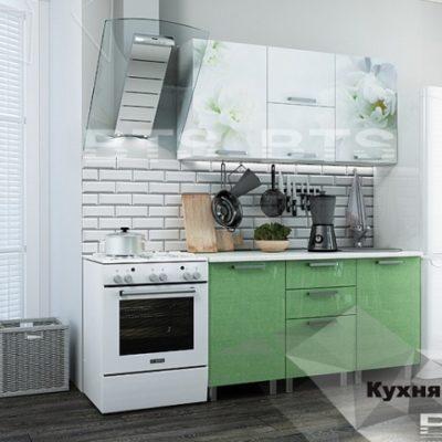 Кухня «Бьянка» 1,5 м. салатовые блестки/фотопечать (б)