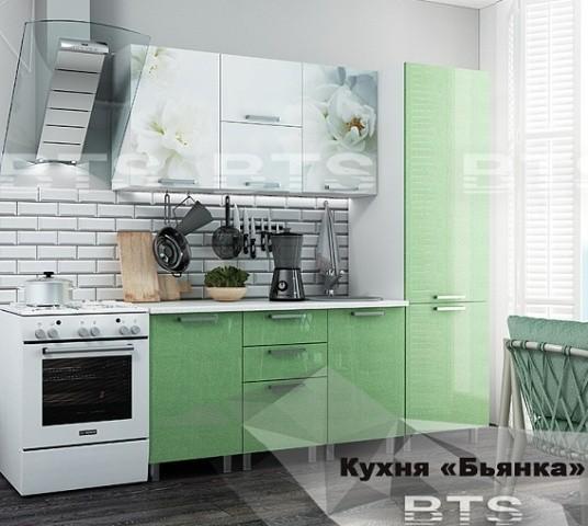 """Кухня """"Бьянка"""" 2,1 м. салатовые блестки (б)"""