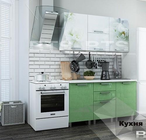 """Кухня """"Бьянка"""" 1,5 м. салатовые блестки/фотопечать (б)"""