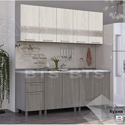 Кухня «Амели»ясень белый/ясень светлый 2,0 (б)