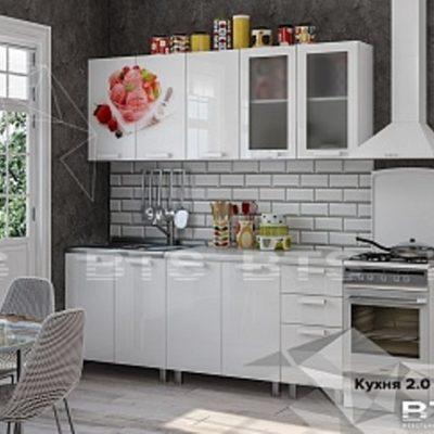 """Кухня """"Айс-Крим"""" белый глянец/фотопечать 2,0 (б)"""