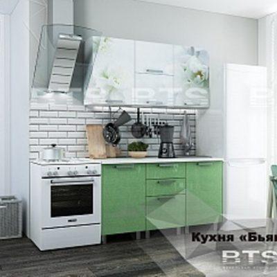 Кухня «Бьянка» салатовые блестки/фотопечать 1,5м (б)