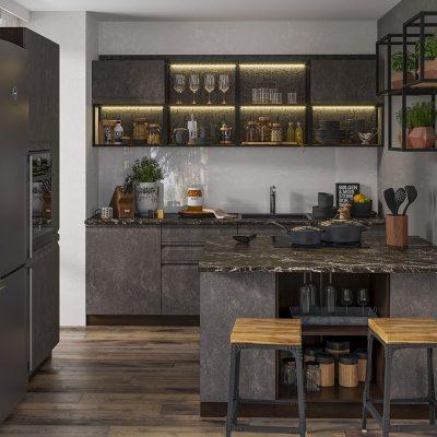 Кухонный гарнитур с островом 3,2 м «Бруклин» Бетон черный (иц)