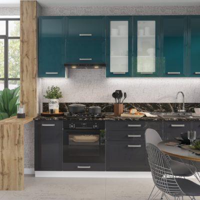 Кухонный гарнитур 2,6м «Виста» дым глянец + океан глянец (иц)