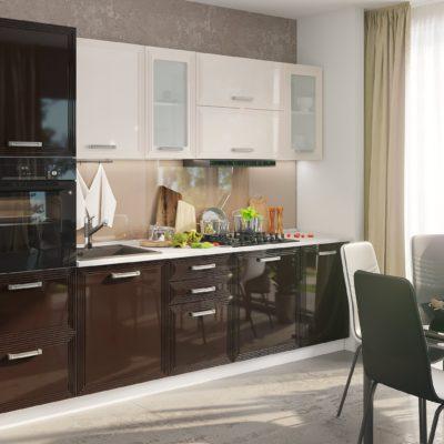 Кухонный гарнитур 2,8м «Виста» горький шоколад + ваниль глянец (иц)