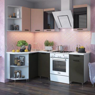 Кухня угловая 1,3*1,4 м «Техно NEW», Угольный софт/Пудра софт (м)
