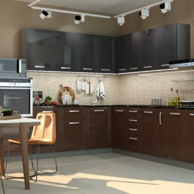 Кухонный гарнитур угловой 2,6*3,0м «Виста» горький шоколад + океан глянец (иц)