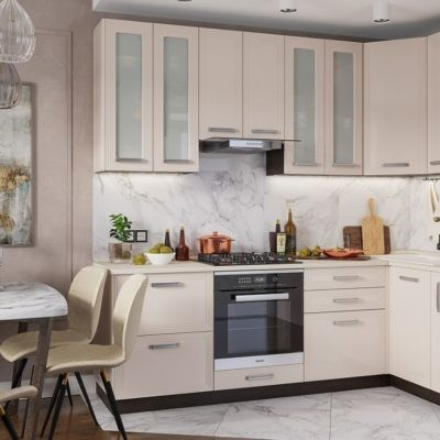Кухонный гарнитур угловой 2,4*1,2м «Виста» ваниль глянец (иц)